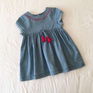 Poney Baby Girl Denim Dress