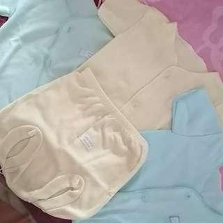 Baju bayi lengan pendek polos warna