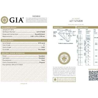 GIA 認證 0.92CT  K color VVS1  鑽石