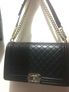 Authentic chanel new medium boy in lambskin
