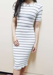 Jewels bodycon knitted stripe dress