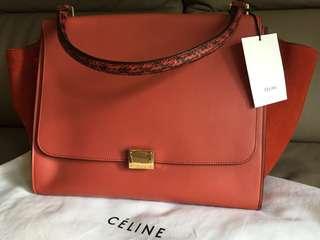 100%genuine Celine Trapeze Bag with python handle