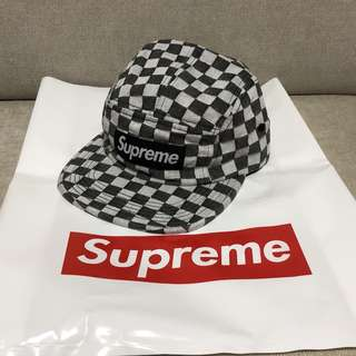 Supreme Checkerboard Camp Cap Black
