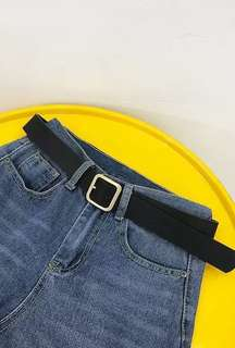 ULZZANG BLACK SQUARE BELT