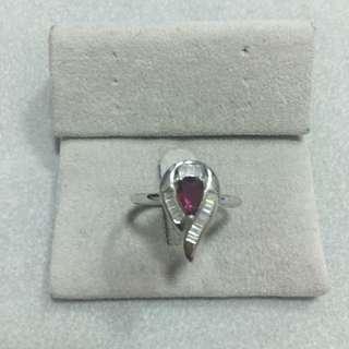 純銀鍍白金紅寶石戒指