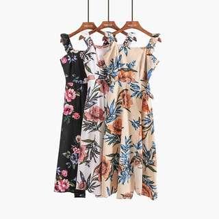 ruffle floral midi chiffon dress