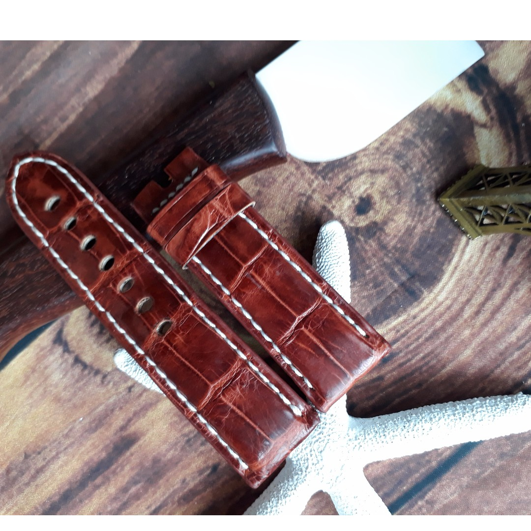 377aa6be9cf 26 22mm horn back alligator crocodile leather watch strap for Big ...