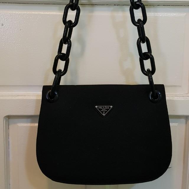 33558a577e Authentic Prada plastic chain shoulder bag black NERO wool B6623 ...