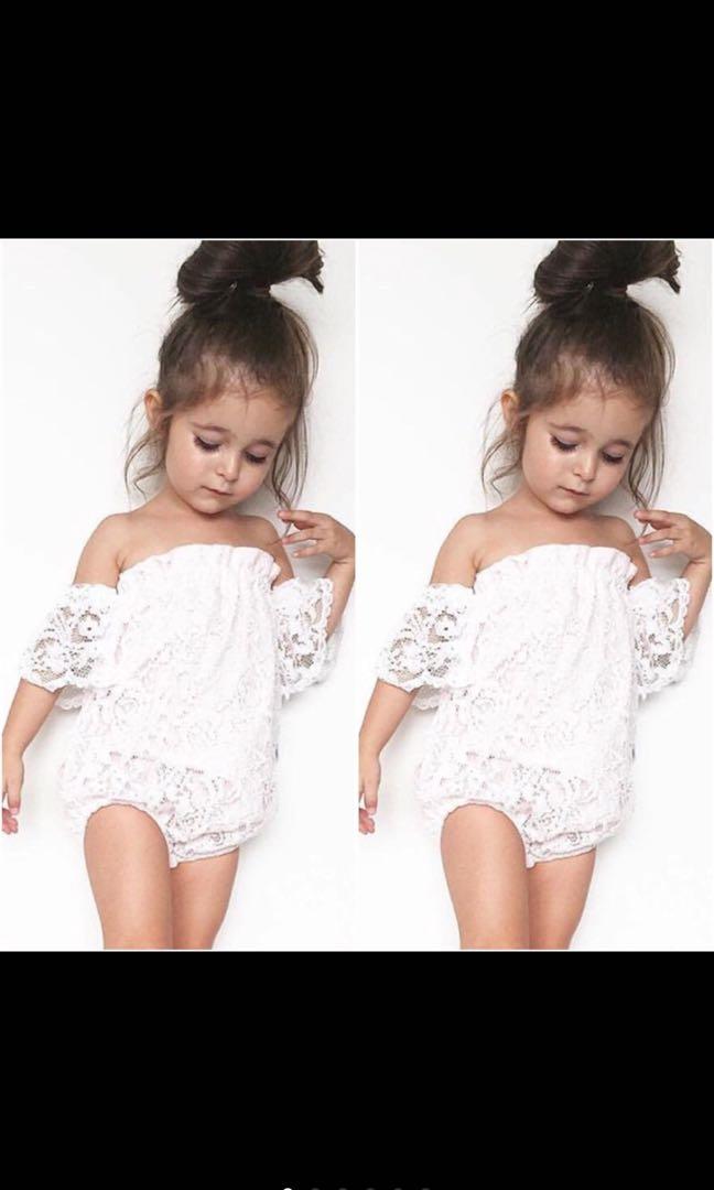 47da1ec8c409 Baby Girl Off Shoulder White Floral Lace Romper Jumpsuit Bodysuit ...