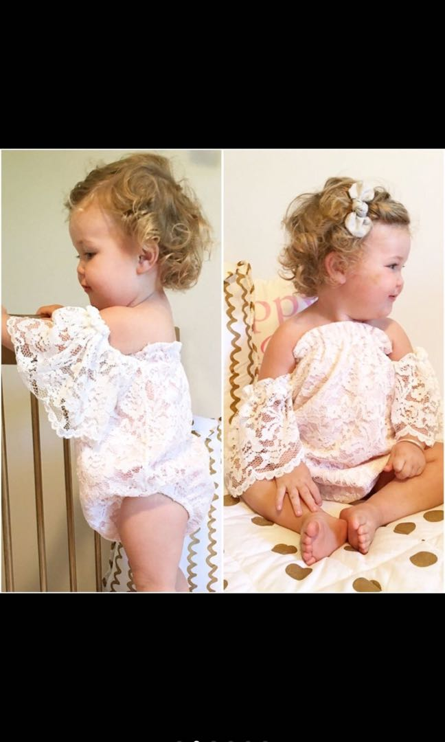 ee09b17542bb Baby Girl Off Shoulder White Floral Lace Romper Jumpsuit Bodysuit Kids  Children Newborn Infant  PO