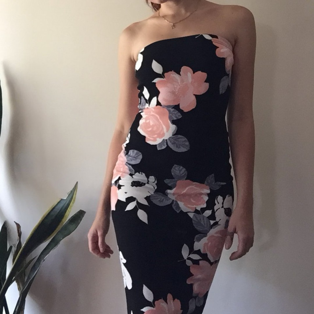 black and peach crepe floral midi dress size 4 - 6