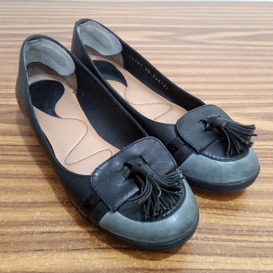 Black Gray Leather Walking School Office Shoes Flats Size 5