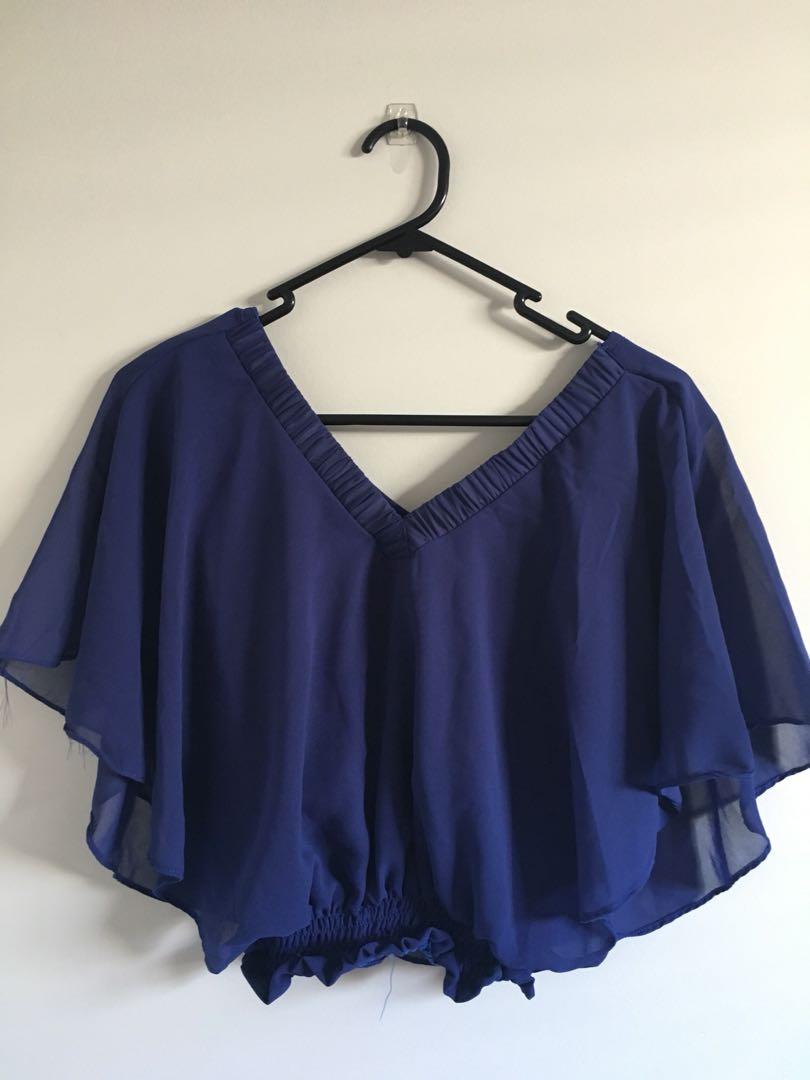 Blue/Red Chiffon Top