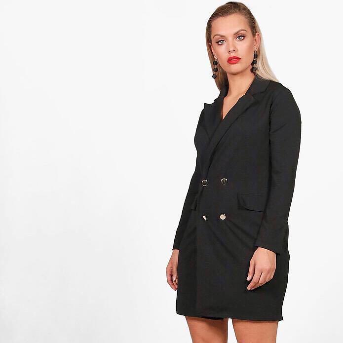 91a8dc6e78 Brand New Boohoo Curve / Plus Size Black Tuxedo Dress UK22, Women's ...