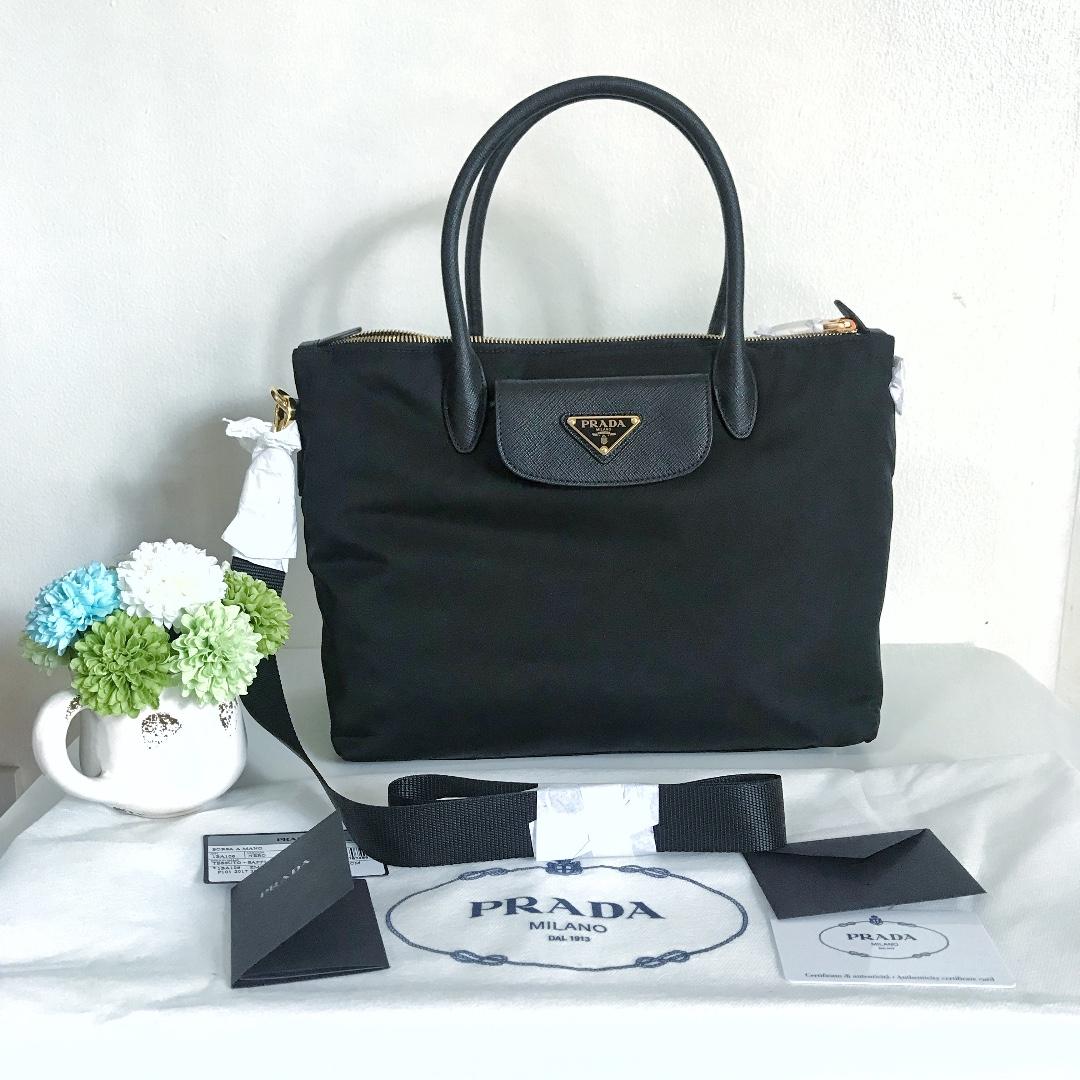 coupon code for prada 1ba106 tessuto nylon saffiano leather trim  convertible bag black luxury bags wallets 1ba3031498781