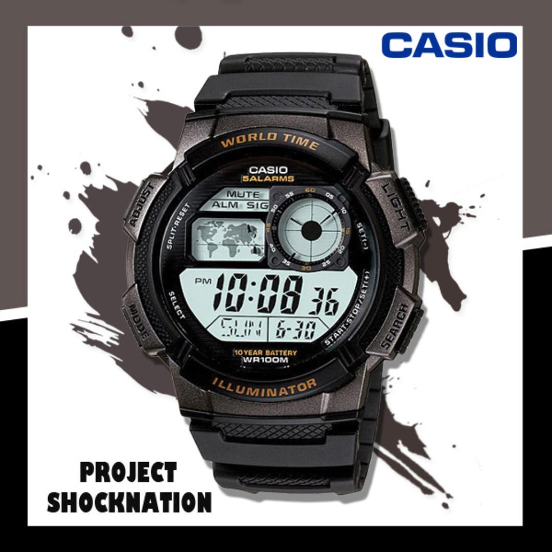 Casio Ae 1000w 1av World Map World Time Stopwatch Alarm Led Light