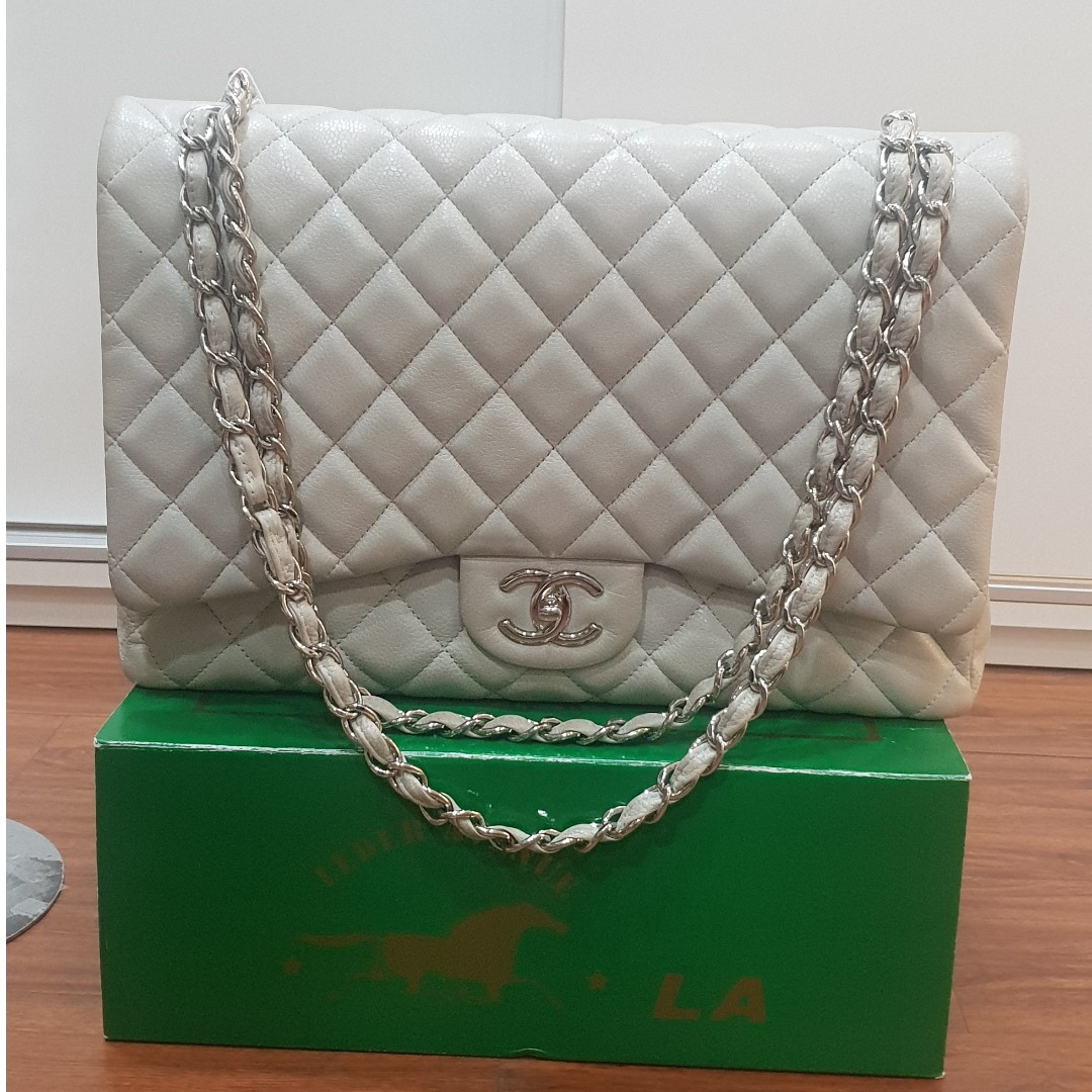 dcee9b25d2a6 Chanel Light Grey Maxi Flap Bag Shw Preloved in good condition Comes ...