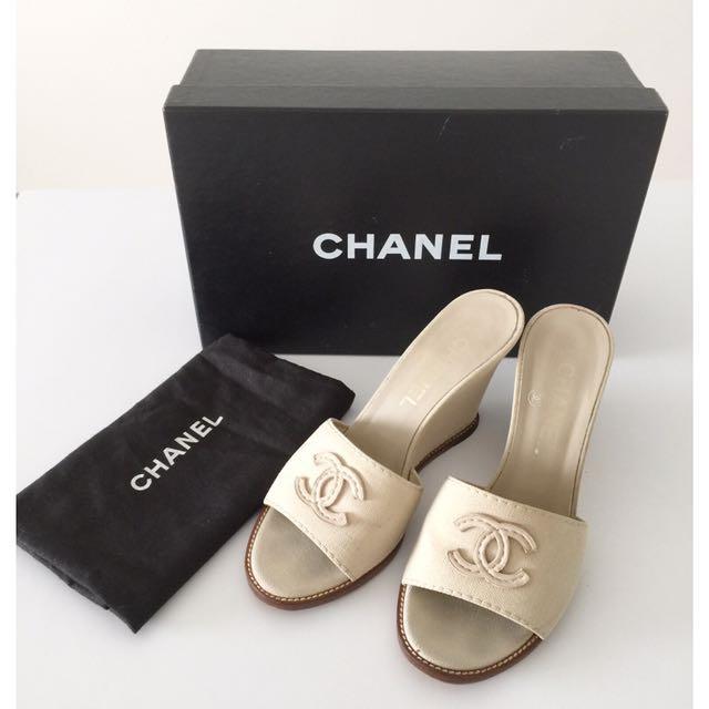 CHANEL Wedges Sandals Size 36, Women's