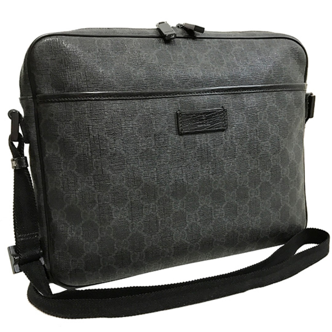 27c006309c19 Gucci shoulder bag GG plus messenger bag PVC leather charcoal gray black  (SHIP FROM JAPAN, Men's Fashion, Bags & Wallets on Carousell