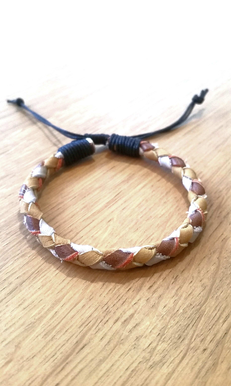 Handmade boho bracelet real leather