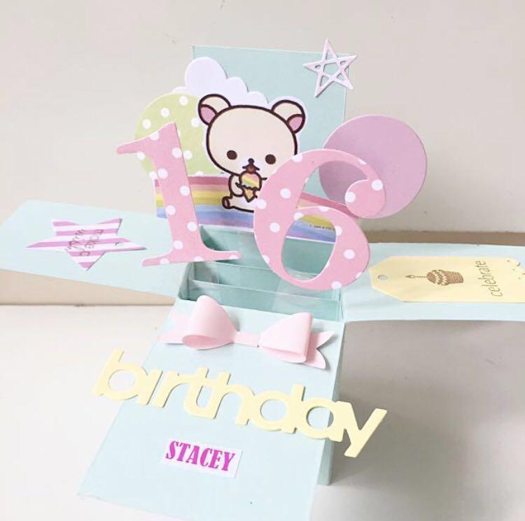 Happy 16 Birthday Rilakkuma Handmade Pastel Pop Card Design Craft