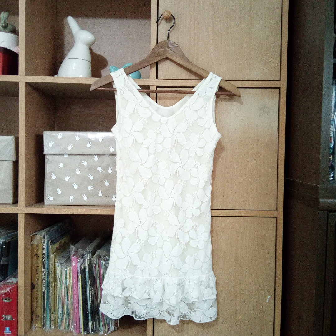 Korean style White Lace Dress Top Size XS to S