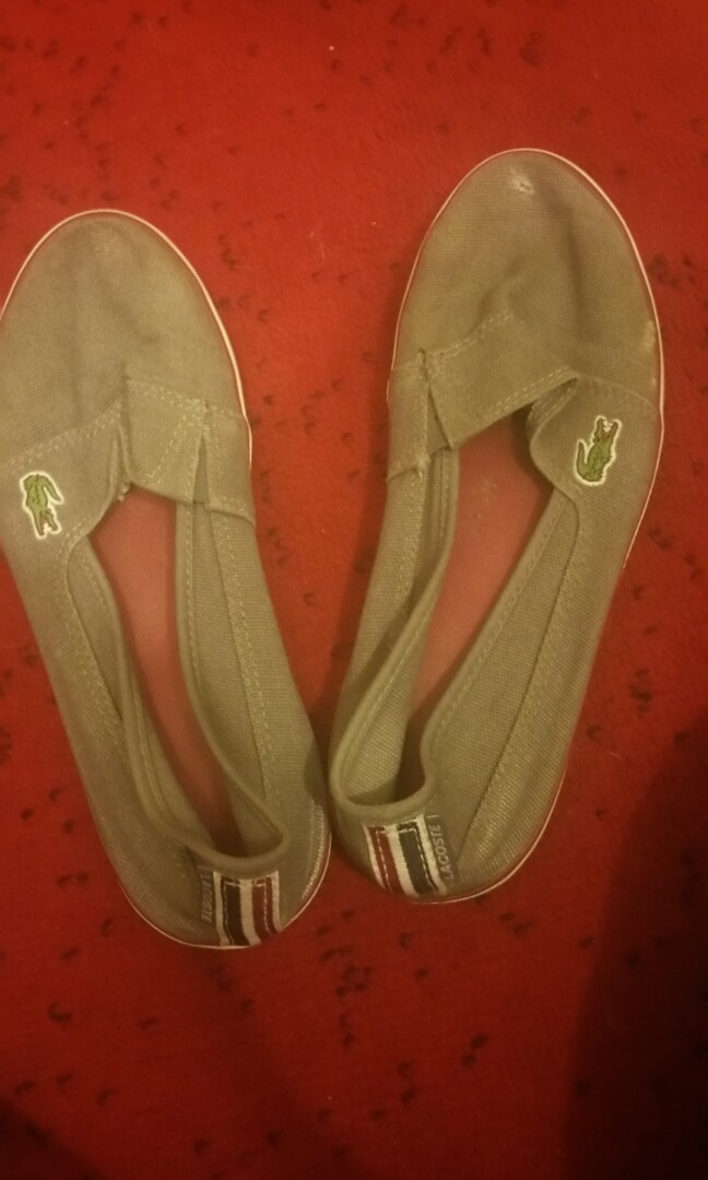 Lacoste grey canvas slip on shoes