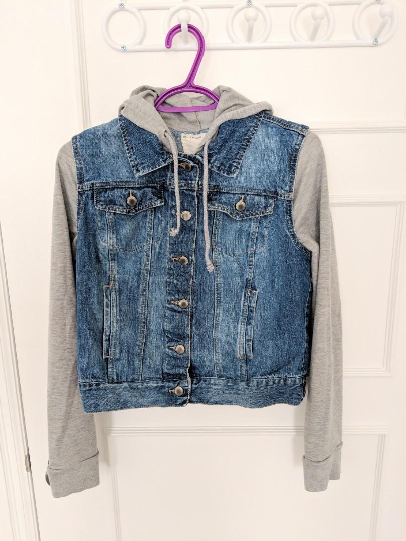 Life In Progress Hooded Denim Jacket/ Denim jacket with jersey sleeves
