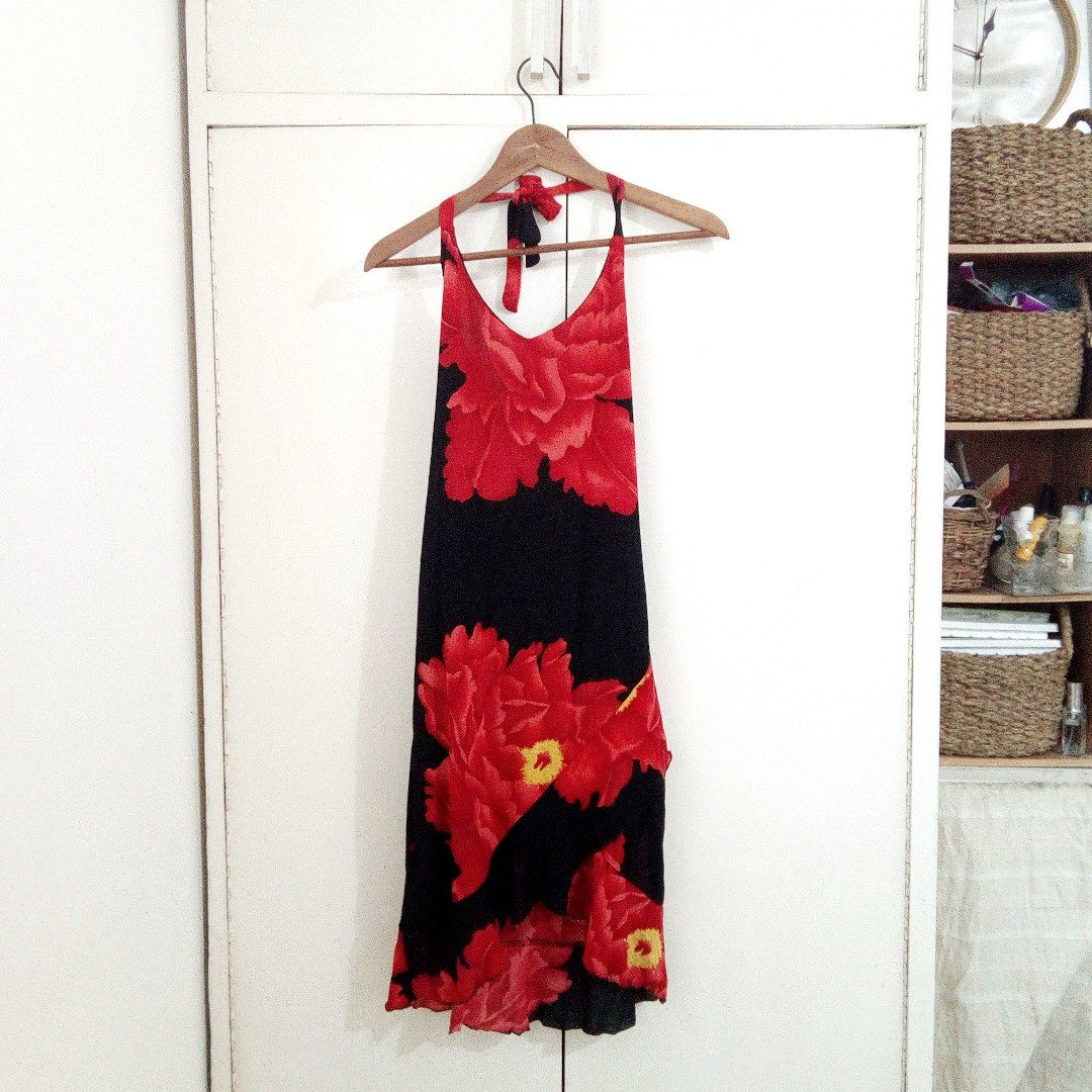 Floral Asymmetric Maxi Halter Formal Cocktail Red Black Dress Size Medium