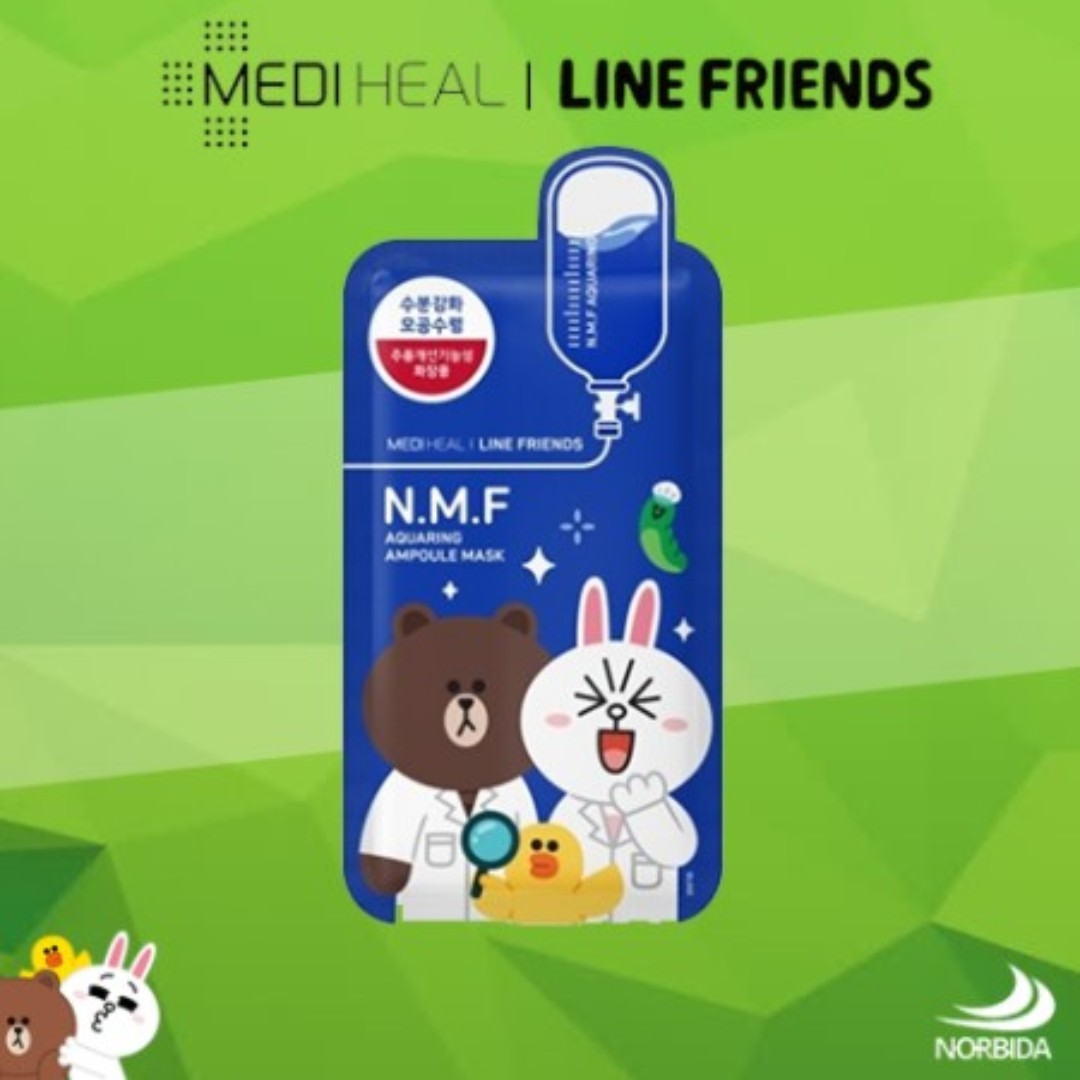 Mediheal Line Friends N.M.F Aquaring Ampoule Mask Pack, Health & Beauty, Skin, Bath, & Body on Carousell