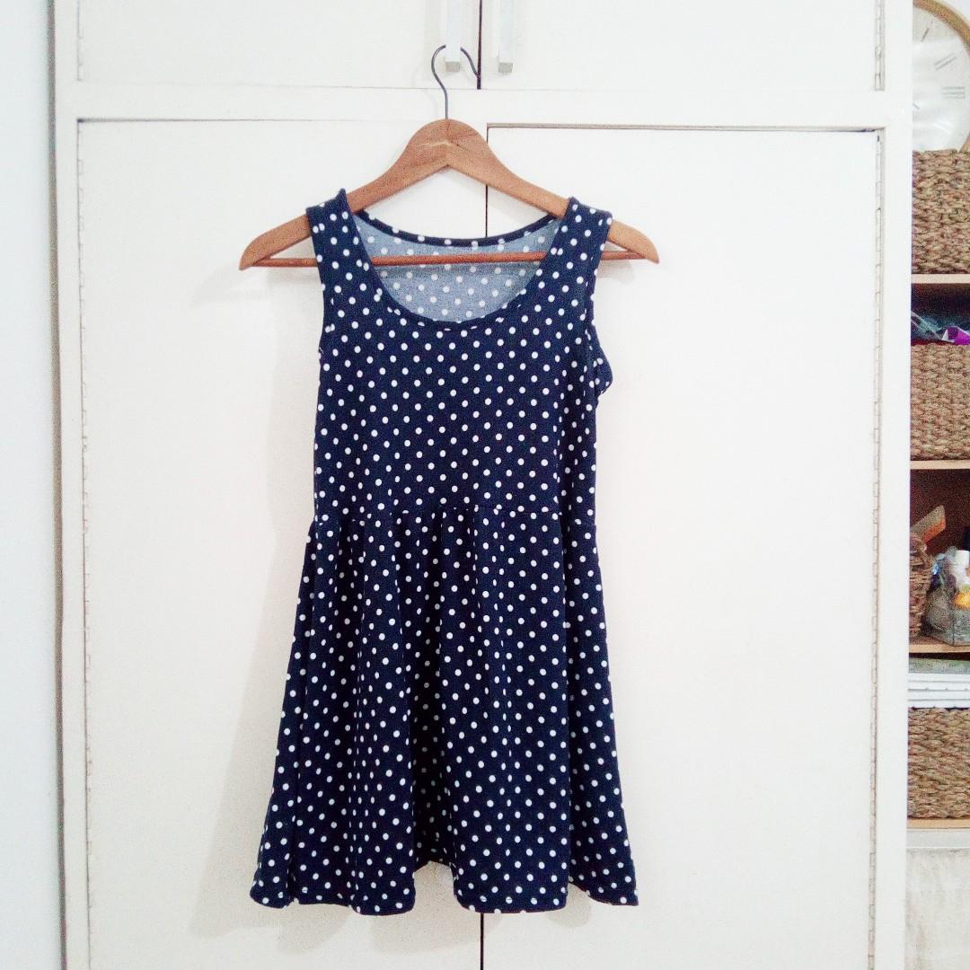Navy Blue Polka Dot Cute Dress SIZE SMALL