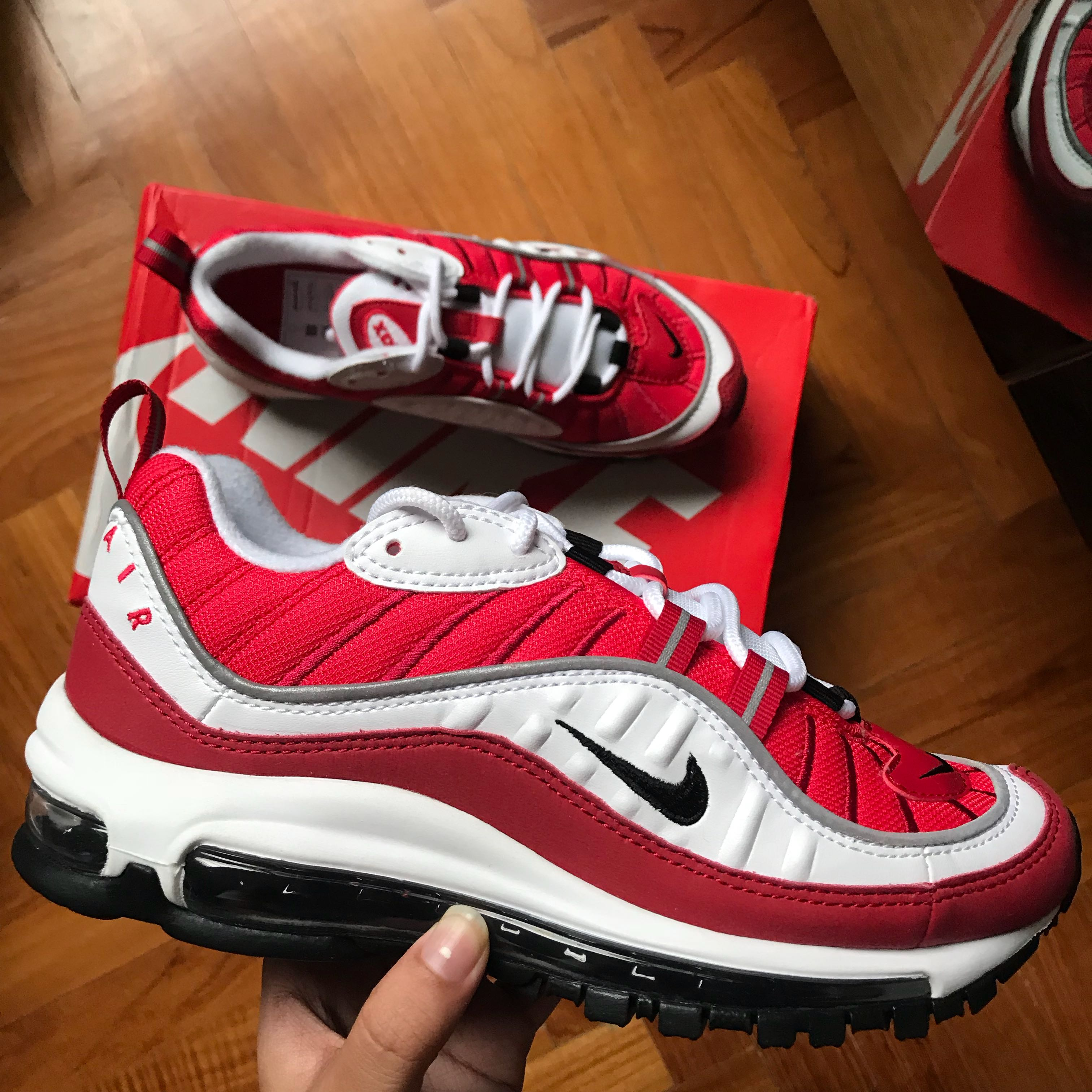 "1bda86a7f2 Nike Air Max 98 ""Gym Red"" (Red/White), Men's Fashion, Footwear on Carousell"