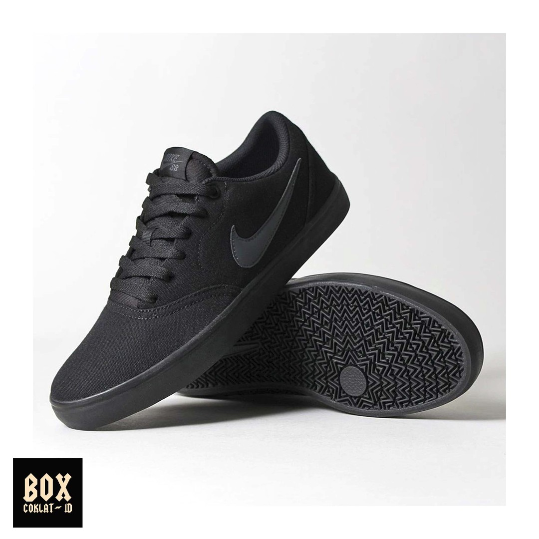 NIKE ORIGINAL SKATEBOARDING SB CHECK SOLARSOFT CANVAS FULL BLACK ... 5c30b8f30