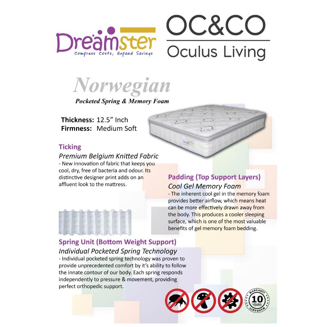 norwegian individual pocketed spring mattress 12 5 home