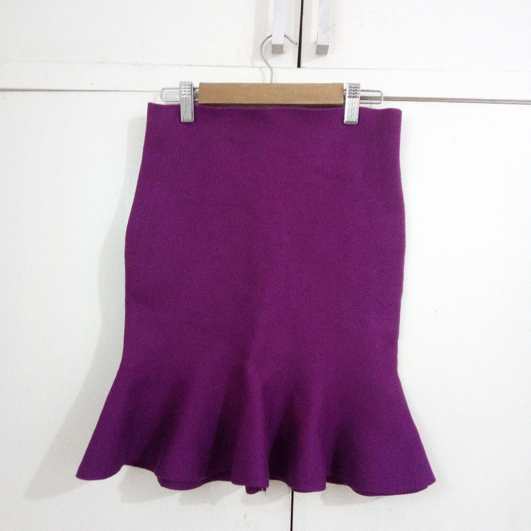 Purple Peplum Mermaid Knitted Skirt for Office or Formal Wear Size Small