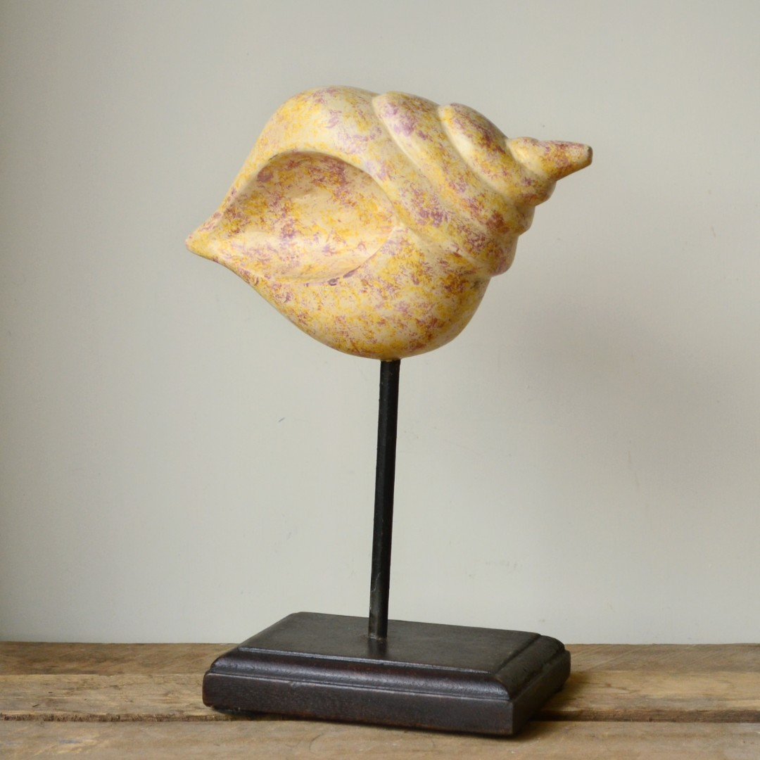 Rustic Cream Timber Conch Shell Statue on Stand