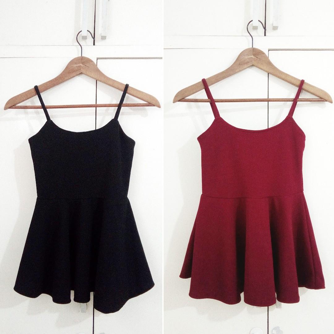 SET of 2 Peplum Sleeveless Top Black and Red Cute