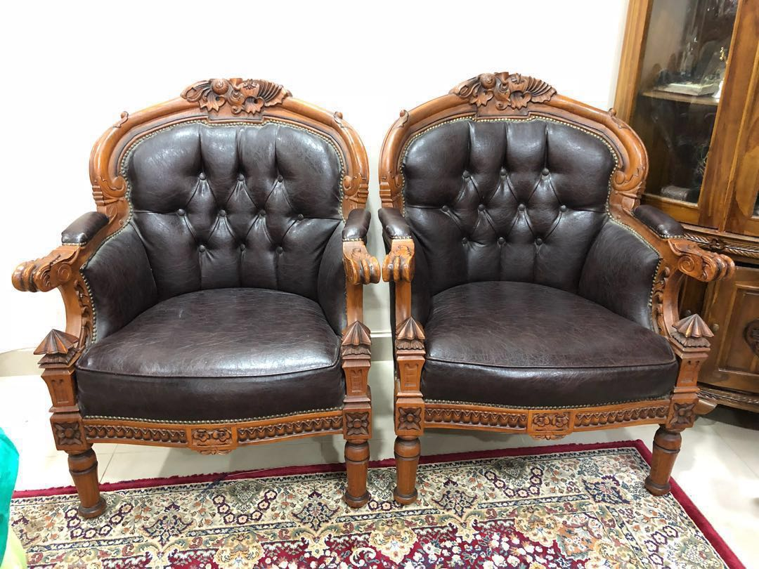 Single Seater Jati With Leather Cover Rm550/pc, Home U0026 Furniture, Furniture  On Carousell