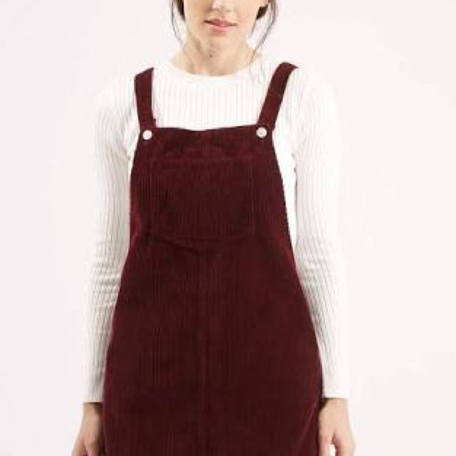 Topshop Cord Overall Dress