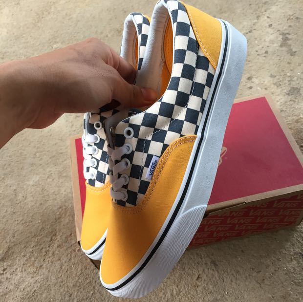 c6c16f093c Vans Era 2 tone checkered yellow   white skate shoes