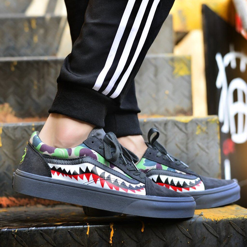 Vans X Bape Sharktooth Camo Custom 23 All Black Mens Fashion