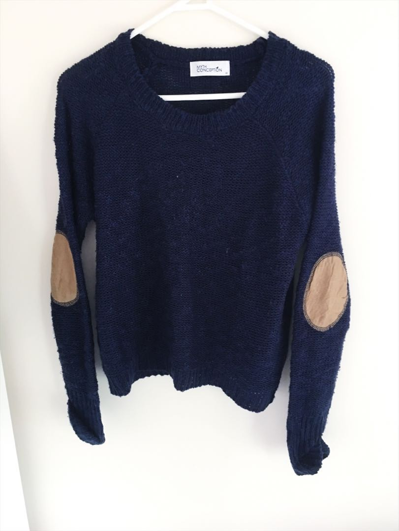 Wardrobe Clearance! - Classy Navy Jumper with Elbow Tan Patches - Size 8