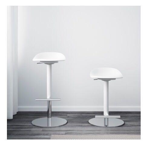 White bar stools with chrome
