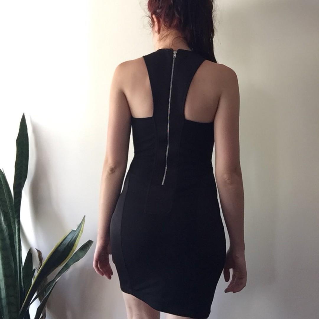 xxs black panel mini dress