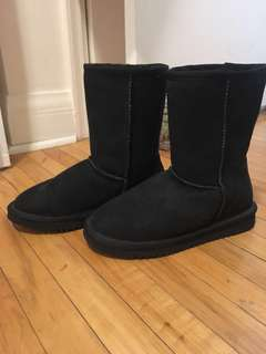 Black Real Sheepskin Boots