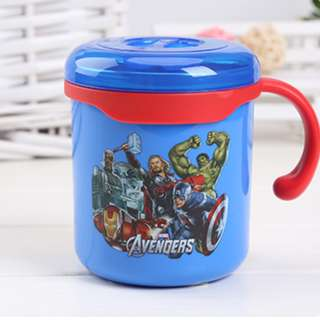 Cute Cartoon Print Stainless Steel Mug with cover for children-Hero design
