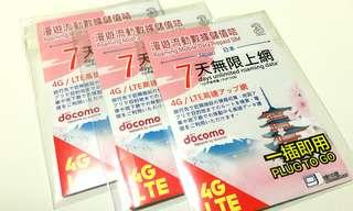 日本Docomo 4G 7日無限上網卡 (3HK)