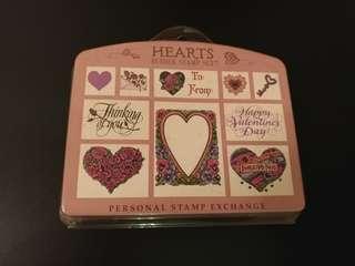 🈹Vintage Hearts Rubber Stamp Set