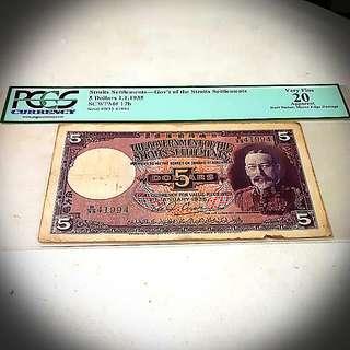straits settlement  5 dollars.1.1.1935