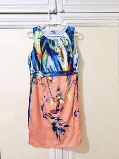 Abstract Print Orange Chiffon Dress